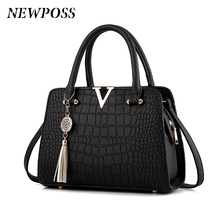 Fashion Women Handbags Tassel PU Leather Totes Bag Top-handle Embroidery Bag Shoulder Bag Lady Simple Style Crocodile pattern
