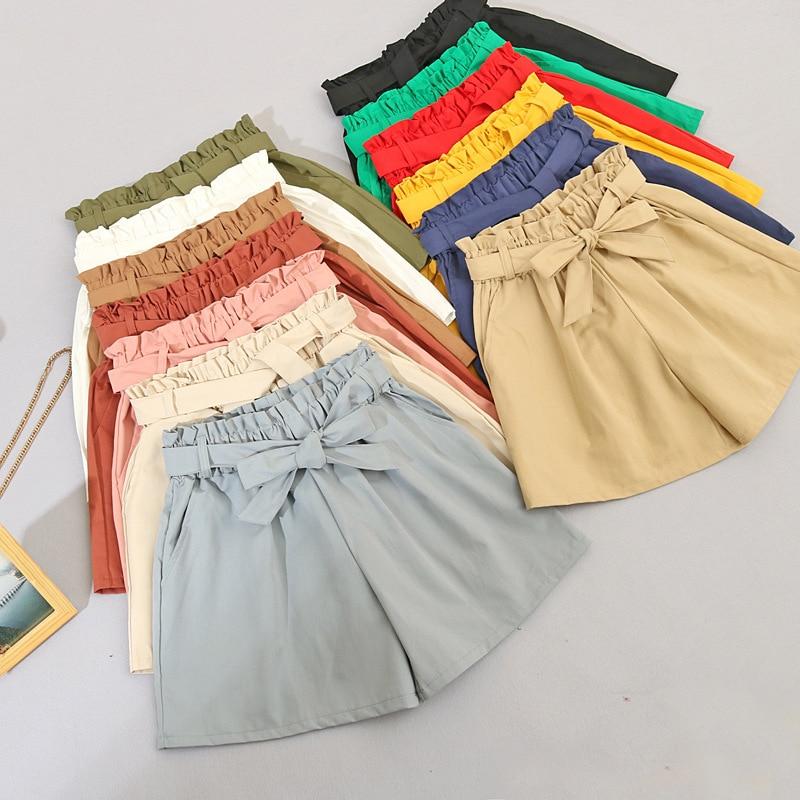 Hot Elastic Waist Tie Bow Loose Cotton Shorts Womens 2020 Summer New Korean Ruffles Wide Leg Shorts For Women Wild Casual Shorts