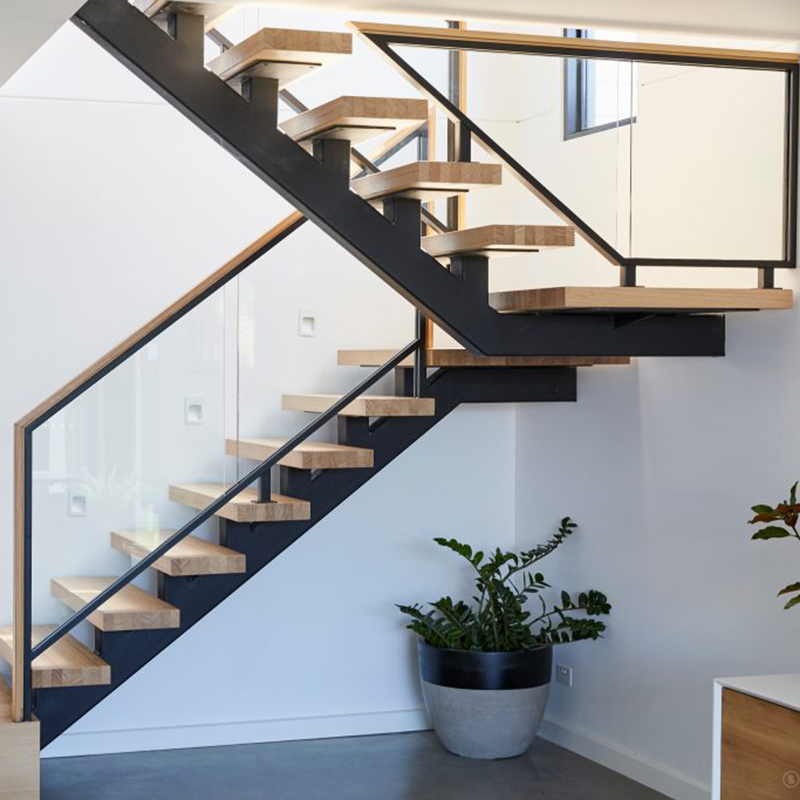 Home Used Modern Custom Interior Glass Railings Wood Step U Shape | Glass Railing For Stairs Price | Curved Glass Balustrade | China | Spiral Staircase | Frameless Glass | Cable Railing