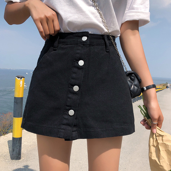 Girls Korean style shorts new high-waisted single-breasted shorts anti-fade denim skirt solid color street style shorts skirt vintage single breasted solid color furcal denim suspender skirt