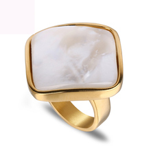 High quality big shell rings jewelry titanium steel finger ring gold color wedding rings for women free shipping недорого