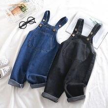 Джинсовые брюки на подтяжках для маленьких мальчиков и девочек