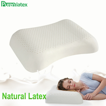 PurenLatex 57x37 Ventilated Thailand Pure Natural Latex Pillow Concave Anti-Stiff Soft Orthopedic Pillow Vertebrae Health Care