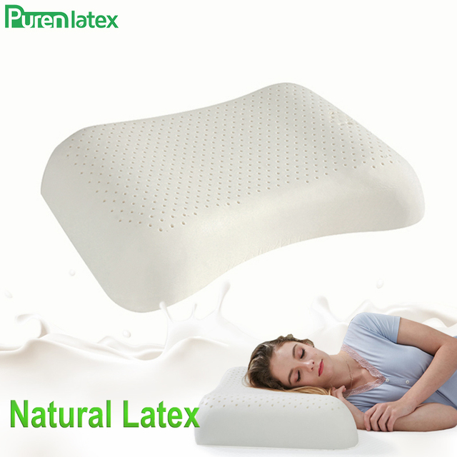 PurenLatex 57x37 Ventilated Thailand Pure Natural Latex Pillow Concave Anti-Stiff Soft Orthopedic Pillow Vertebrae Health Care