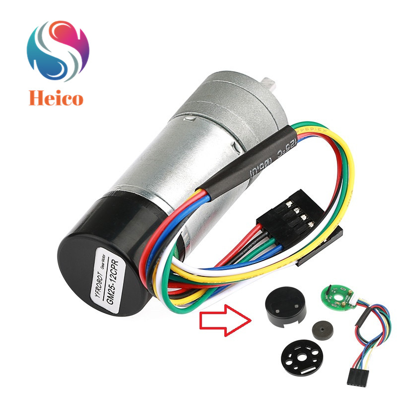 25/37mm Diameter DC Gear Motor Hall Encoder Photoelectric Incremental Encoder Motor Speed High Precision With Protective Cover