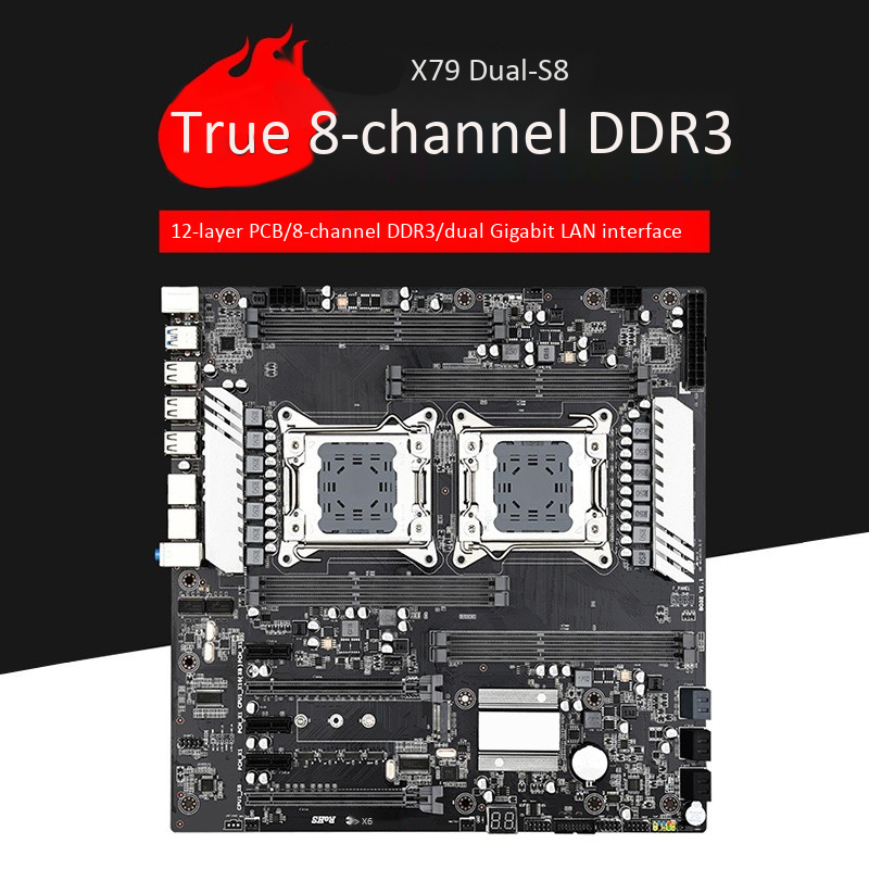 X79 S8 E-ATX Dual CPU LGA2011 Motherboard Support For Dual Intel E5 V1/V2 DDR3 1333/1600/1866MHz 256G M.2 NVME SATA3 USB 3.0