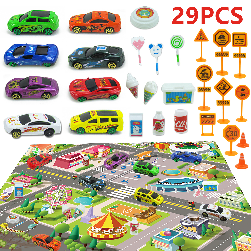 Children's Toy Alloy Racing Model With City Map Parking Road Sign Children Play House Toy Children's Room Game Pad