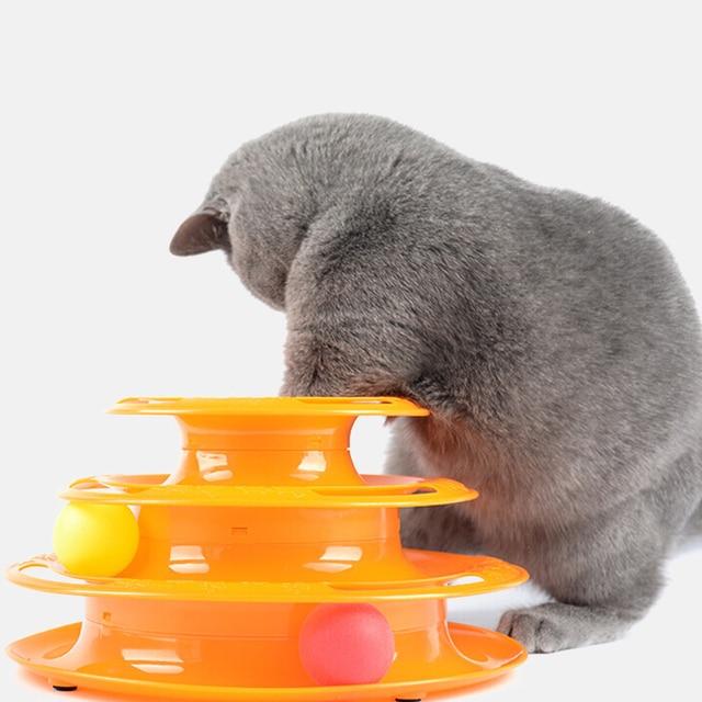 Tres niveles Gato torre de juguete pistas disco gato inteligencia diversión Triple disco gato juguetes bola entrenamiento diversión gato torre