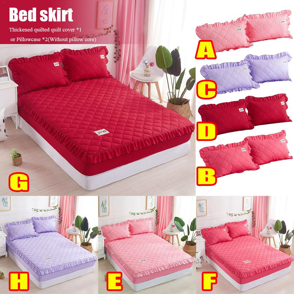 Polyester US Size Bed Skirt Bedding Bed Wrap Cover Hollow Ruffle Decor 3 Sizes
