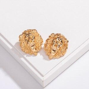 HF JEL Vintage Baroque Earrings for Women Gold Color Lion Head Stud Earrings Metal Earings Fashion Jewelry Baroque Ear 2019