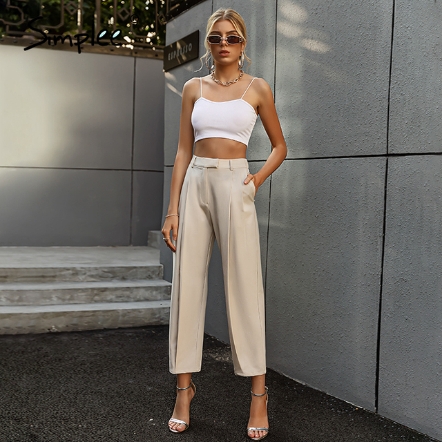 Solid High Waist Office Trousers 5