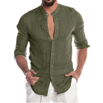 Men's New Summer Casual Cotton Linen Long Sleeve Button Down Shirt For Man Casual Shirts Cotton Shirts Dress Shirts Long Sleeve Men Print Shirts Shirts & Tops Slim Fit Summer Shirts T-Shirts Color: Army Green Size: European Size M