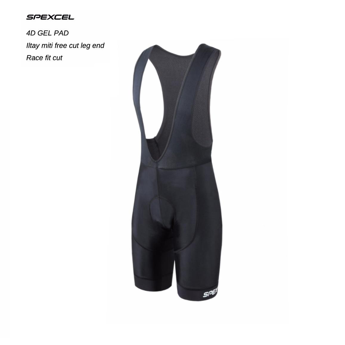 Spexcel alta qualidade clássico bib shorts de corrida bicicleta parte inferior ropa ciclismo bicicleta calças 4d almofada gel itália pinças silício na perna