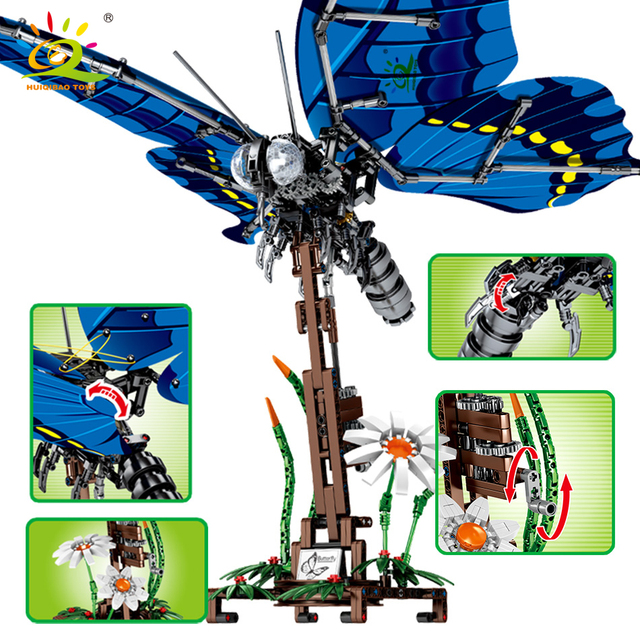 HUIQIBAO 564Pcs Simulated Swallowtail Butterfly Building Blocks Technic insect city Construction Bricks set Children Toys gift