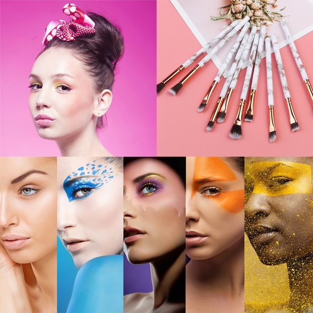 Marble EyeMakeup Brushes Set Eyeshadow Eyeliner Eyebrow Makeup Brush Tools Kit 10pcs 4