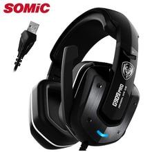 Fone de ouvido para jogos 7.1 som usb com fio vibração fones de ouvido com microfone computador portátil marca original somic g909 pro