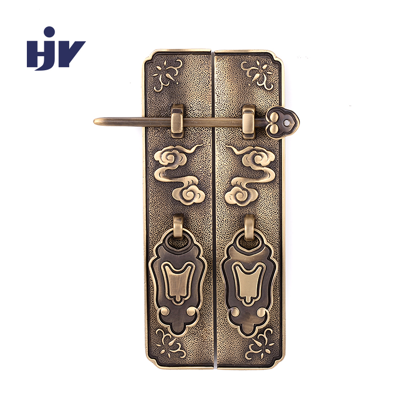 Antique Bronze Cabinet Handles Chinese Style Vintage Lock Catch Furniture Door Handle Drawer Door Knobs Pulls Furniture Hardware