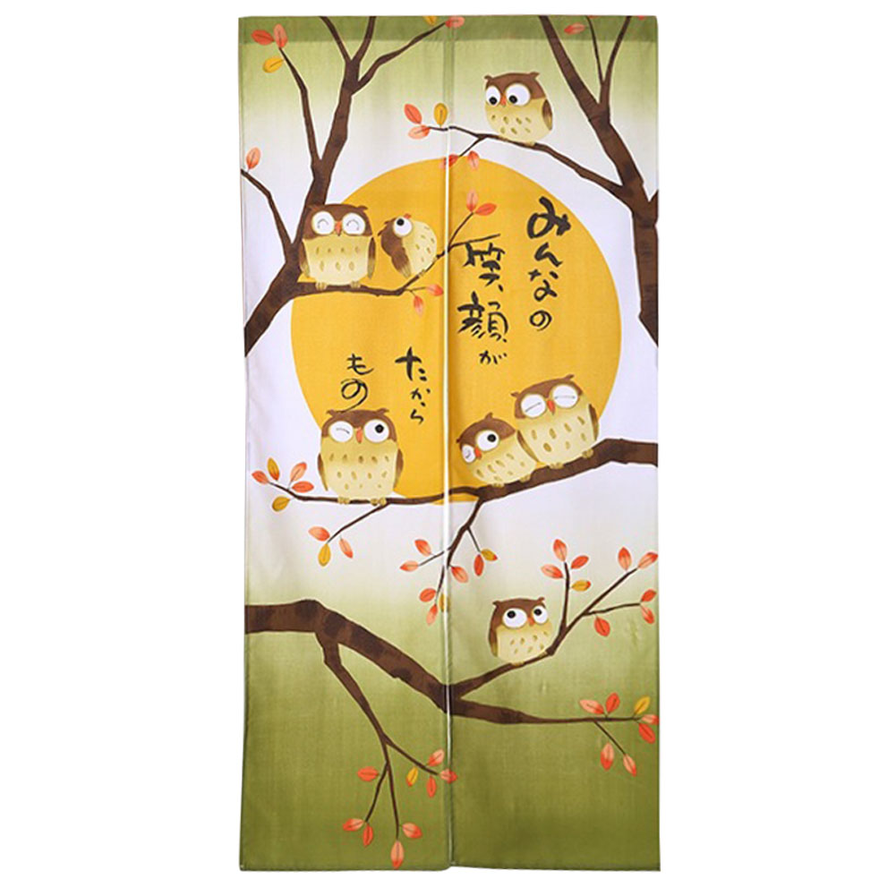 Cartoon Divider Owl Printed Home Bedroom Semi Hanging Soft Separation Door Curtain Japanese Exquisite Easy Install Entrance|Curtains| |  - title=