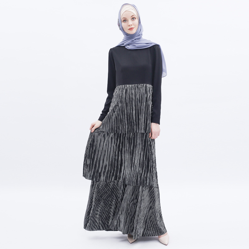 High-end Cake Dress Muslim Women Multi-layer Pleated Cupcake Dresses Islamic Turkey Dubai Elbise Jilbab Vestidos Moroccan Kaftan