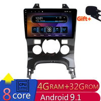 9 4G RAM 2.5D IPS 8 Core Android 9.1 Car DVD Multimedia Player GPS for Peugeot 3008 2011 2012 2013 2016 audio radio navigation
