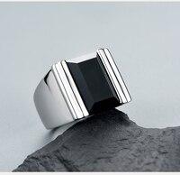 Platinum Black Onyx Men's Gemstone in Sterling Silver Ring