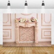 Laeacco – arrière-plan pour photographie de fleurs, cheminée murale Chic, arrière-plan pour photographie de Portrait d'anniversaire de bébé, pour séance Photo de noël