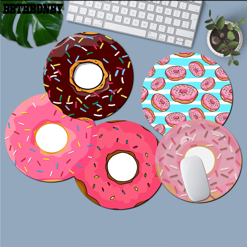 BBTHBDNBY Non Slip PC Delicious colorful donuts round  Mouse pad PC Computer mat gaming Mousepad Rug For PC Laptop Notebook