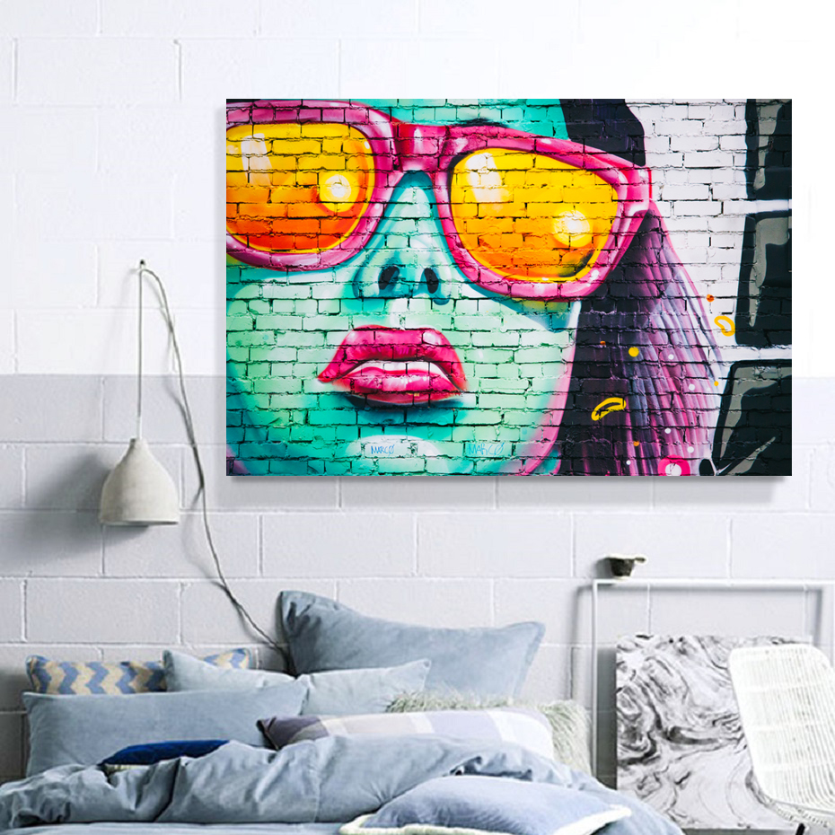 Original Art Painting street hand painted canvas Large abstract girl hair