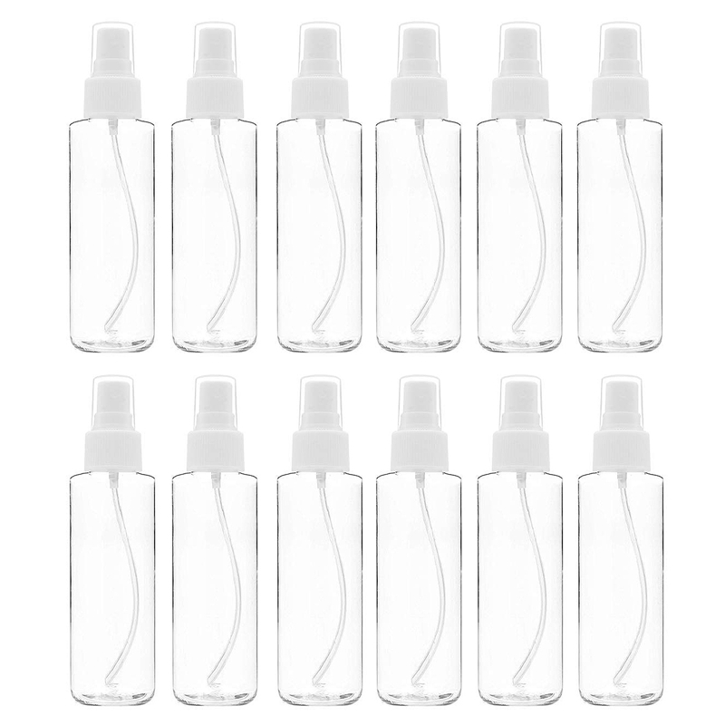 12 Pack Fine Mist Clear Spray Bottles 120 Ml (4 Oz) With Pump Spray Cap, Reusable And Refillable Small Empty Plastic Bottles For