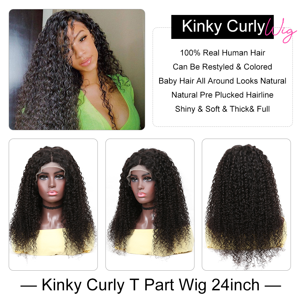 YYong 1x4& 1x6 Topline Lace Kinky Curly Lace Part  Wig HD Transparent Lace Wigs  Wig 32inch 2