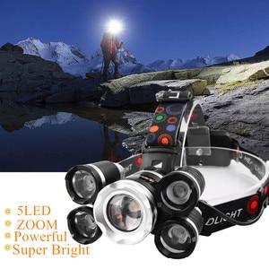 Drop Shipping Powerful Headlight 5 LED T6 headlamp ZOOM Flashlight Torch Hunting head light Fishing light camping lantern(China)