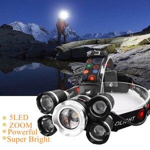 Image 1 - Прямая поставка, мощный Головной фонарь, 5 светодиодов T6, налобный фонарь с фокусировкой, фонарь для охоты, налобный фонарь для рыбалки, фонарь для кемпинга