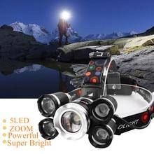 Drop Shipping  Powerful Headlight 5 LED T6 headlamp ZOOM Flashlight Torch Hunting head light Fishing light camping lantern