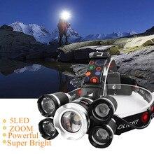 Drop Verschiffen Leistungsstarke Scheinwerfer 5 LED T6 scheinwerfer ZOOM Taschenlampe Jagd kopf licht Angeln licht camping laterne