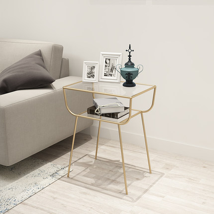 Nordic Tea Table And A Few Modern Creative Simple Metal Gold Corner Sofa, Wrought Iron Ark Of Bedside Table Bedside Table
