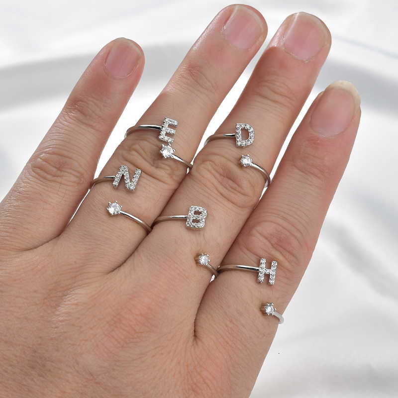 Vintage Crystal Name Letter Hollow Statement Rings Lovely Rhinestone Handmade Wedding Band Fashion Finger Ring Jewelry