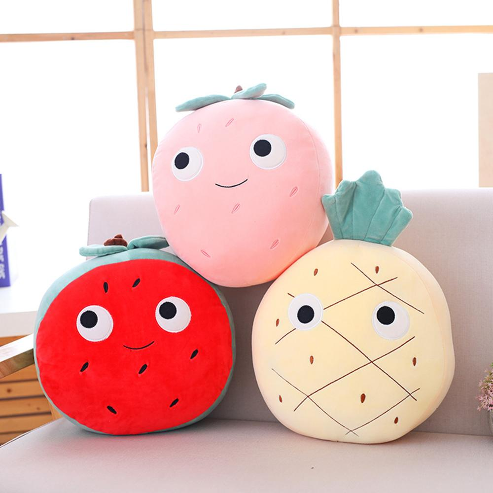 1PCS Creative Soft Simulation Fruit Strawberry Watermelon Pineapple Plush Toy Napping Pillow for Kids Christmas Gifts