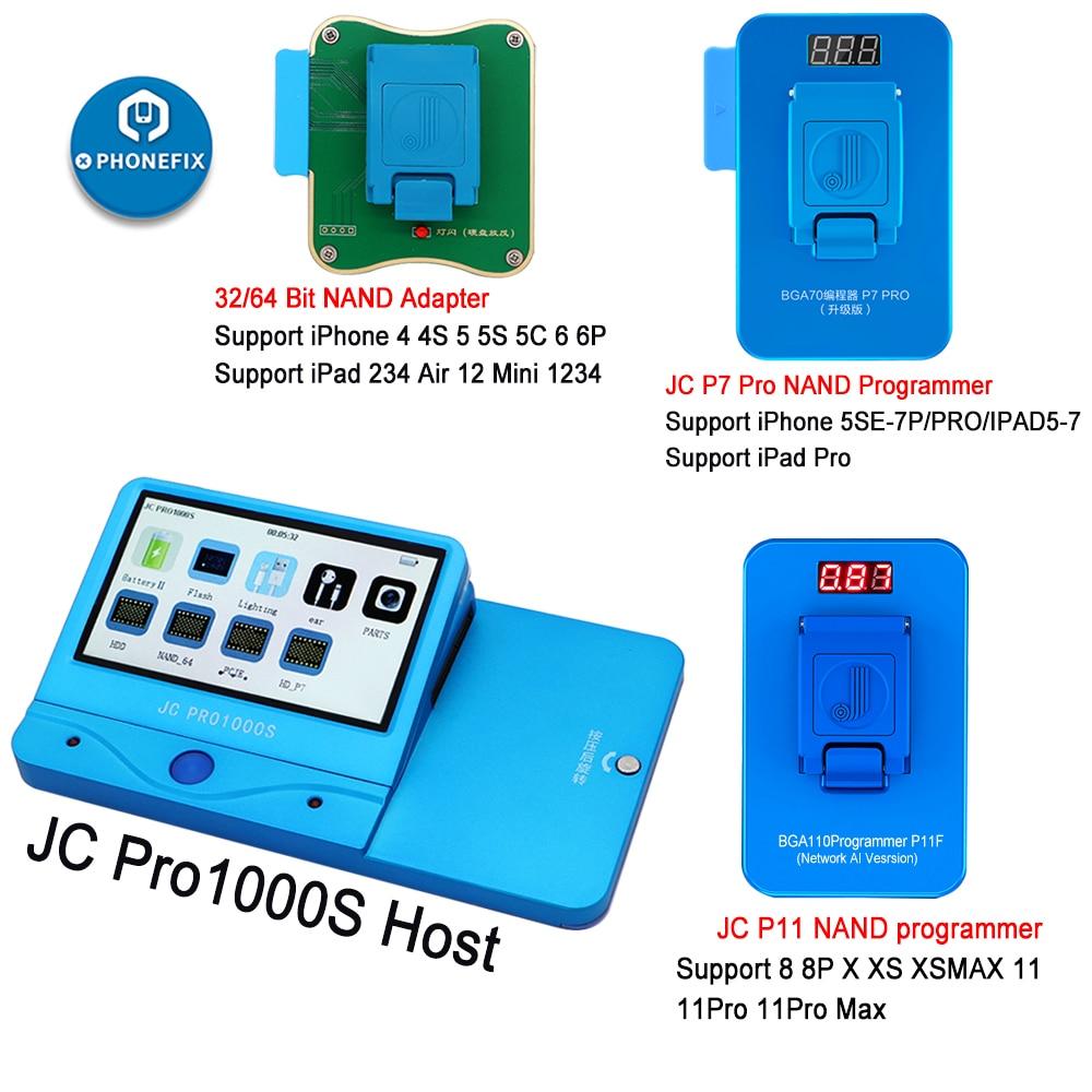 JC Pro1000S JC P7 Pro PCIE NAND programmeur 32/64 bits HDD lecture écriture outil de réparation pour iPhone 7 7 P 6 6S 6P 6SP 5 4 tout iPad déverrouiller