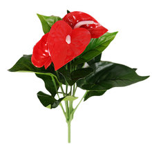 32CM Anthurium green potted anthurium Flowers indoor green plants balcony office desktop artificial flowers bonsai 9 leaves