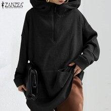 Moda jednolita bluza damska jesień bluzy ZANZEA 2021 Casual swetry z długim rękawem kobieta bluza z kapturem Plus rozmiar 5XL