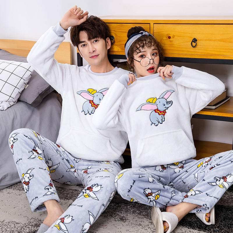 2019 Autumn Winter Long Sleeve Warm Flannel Pajamas For Couples Pajamas For Men Cartoon Sleep Lounge Sleeping Clothes For Men