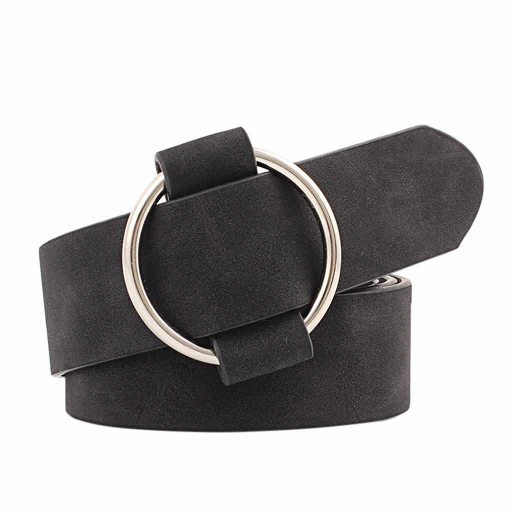 النساء إبرة خالية مشبك مستديرة حزام السيدات عادية الشباب موضة واسعة حزام حزام الجينز فستان أحزمة البرية حزام جلدي جودة عالية