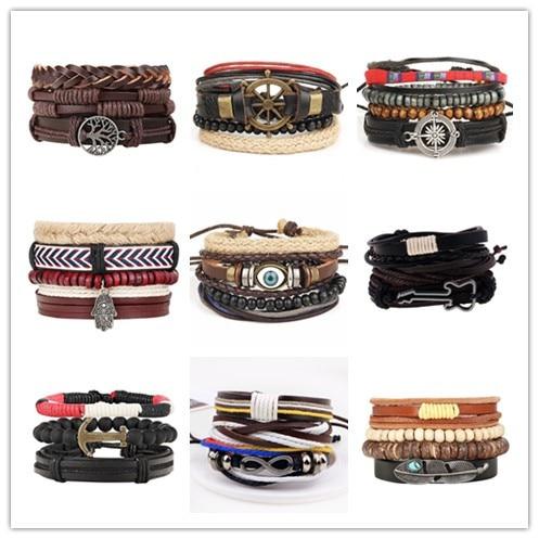 Boho Multilayer Leather Bracelet Eye Feather Hand Star Life Tree Wing Charms Beads Bracelets for Men Vintage Punk Wrap Wristband