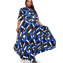 Women's Bohemian Plus Size Dress Lantern Long Sleeve Work