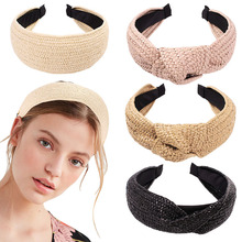 Bohemian Hairband Summer Straw Weaving Knotted Headband for Women Cross Handmade Hair Hoop Accessories