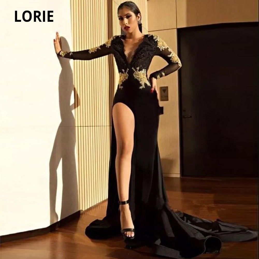LORIE 2020 V-Neck Satin Evening Dresses Mermaid With Long Sleeve Elegant Black Gold Lace Appliques Formal Prom Party Gowns Split