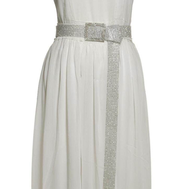 Women's Runway Fashion Shiny Diamonds Beaded PVC Cummerbunds Female Dress Corsets Waistband Belts Decoration Wide Belt R2009