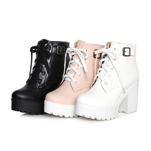 Image 5 - Autumn Winter Martin Boots Boots Women Round Toe Buckle Shoes Women High Heel Fashion Plus Size Square Heels Lacing 3 Colors