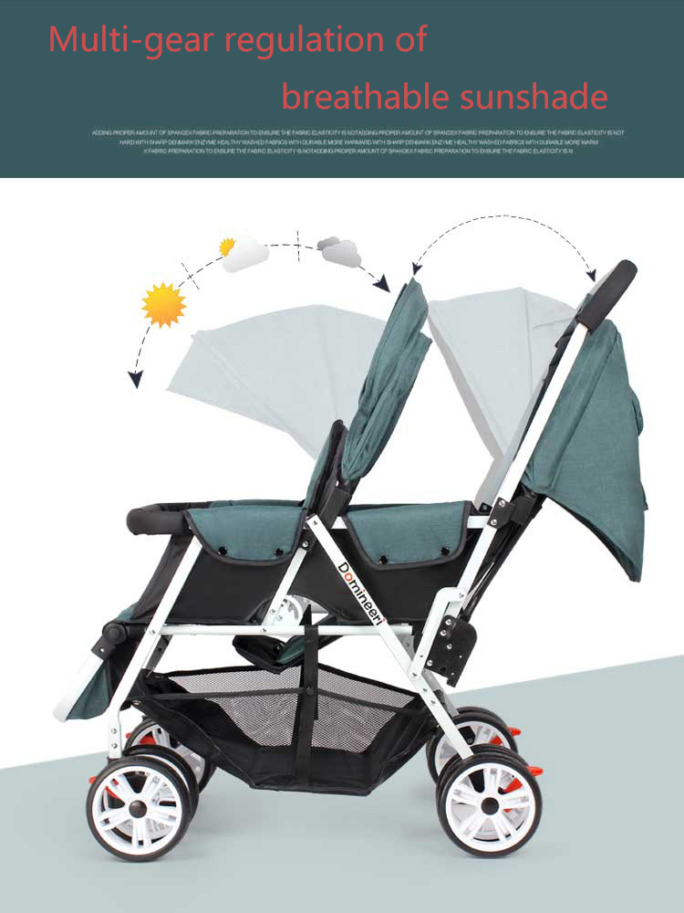 Twin Baby Strollers Lightweight Folding Front Rear Reclining Trolley