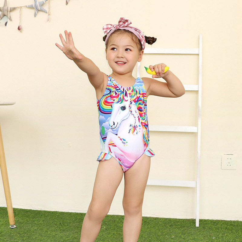 2019 Baby One-piece Swimming Suit Cute Hot Springs Quick-Dry Girls Unicorn Bathing Suit Skirt Swimwear Wholesale
